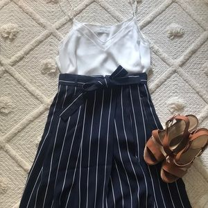 Banana Republic Navy & White Strip Midi Skirt